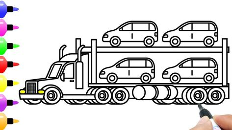 How To Draw Car Carrier And Shipping Cars For Kids Coloring