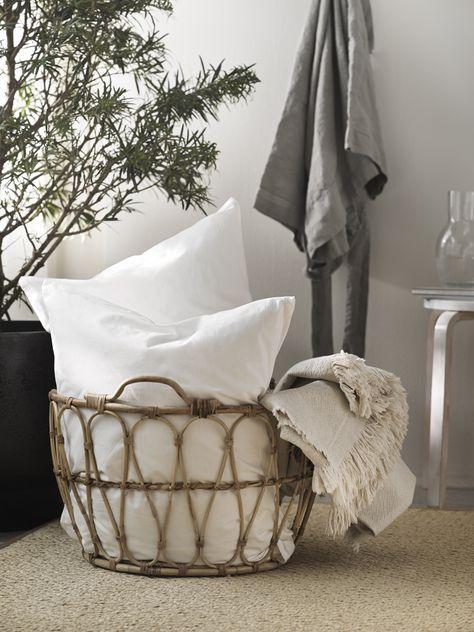 Snidad Basket Rattan Ikea Switzerland In 2020 Bedroom Decor