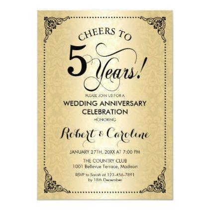 5th Wedding Anniversary Black Gold Damask Invitation Zazzle Com In 2020 Damask Invitations Anniversary Invitations Anniversary Ideas For Him