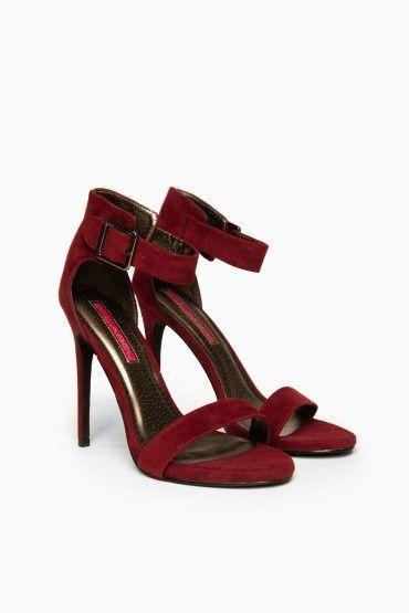 dark red strappy heels