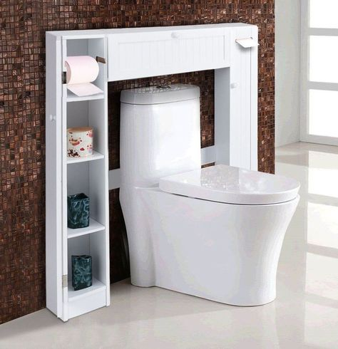5Wooden Over The Toilet Storage Cabinet Drop Door Spacesaver Bathroom White