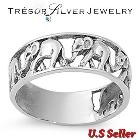 925 Sterling Silver Elephant Lucky Band Ring Size 4 5 6 7 8 9 10 11