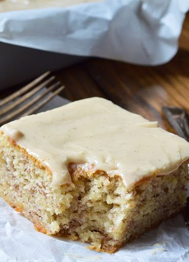 Buttermilk Banana Cake Recipe With Vanilla Buttermilk Glaze Recipe Yummly Recipe Banana Cake Recipe Banana Sheet Cakes Buttermilk Banana Bread