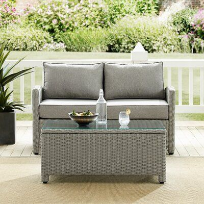Birch Lane Lawson 3 Piece Rattan Sofa Seating Group With Cushions Birch Lane In 2020 Outdoor Seating Set Seating Groups Rattan Sofa