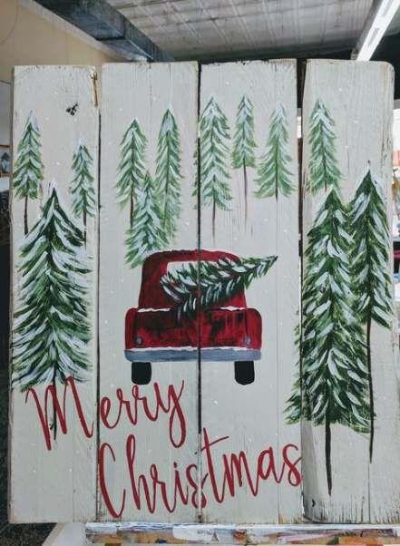 63 Super Ideas Painting Ideas On Canvas Christmas Truck Diy Christmas Canvas Christmas Canvas Christmas Ornaments