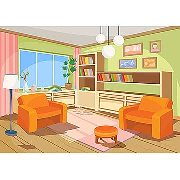 Vector Illustration Of A Cartoon Interior Of An Orange Home Room Room Clipart Room Interior Png And Vector With Transparent Background For Free Download In 2021 Interior Decorating Pictures Interior Room