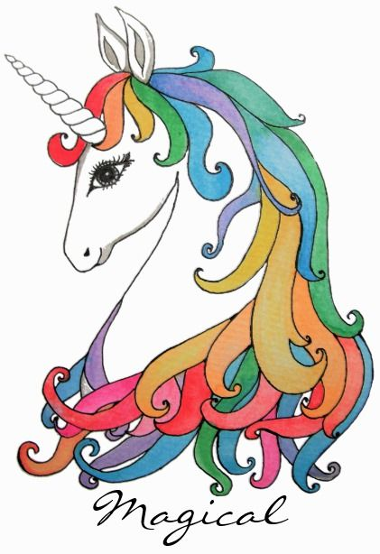 Watercolor Cute Rainbow Unicorn Postcard With Images Cute