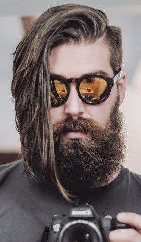 Fashion Photography Long Hair Side Part Mens Hairstyles Beard Styles Long Hair Styles