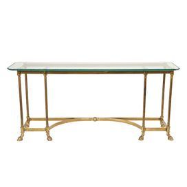 vintage la barge brass console table with a glass top and half rh pinterest com