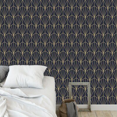 Wrought Studio Hartle 48 L X 24 W Peel And Stick Wallpaper Panel Color Navy Gold Wallpaper Panels Peel And Stick Wallpaper Vinyl Wall Panels