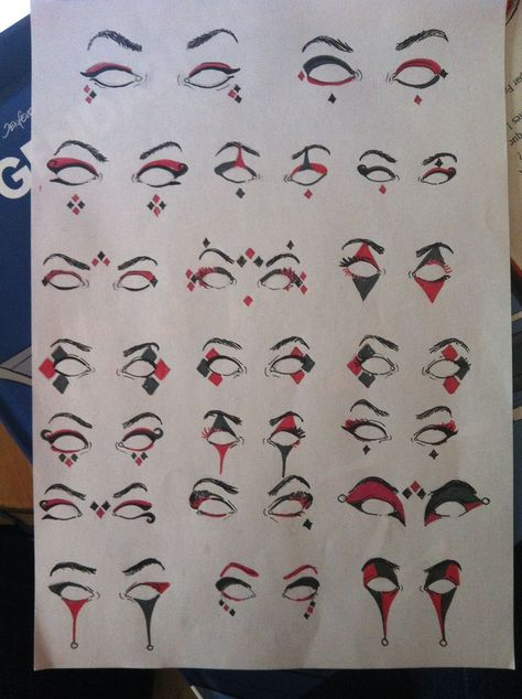 "Ideas For Eye Makeup Halloween Harley Quinn History of eye makeup ""Eye Clown Makeup, Costume Makeup, Eye Makeup, Jester Makeup, Batman Makeup, Harley Quinn Cosplay, Joker And Harley Quinn, Harley Quinn Drawing, Maquillaje Harley Quinn"