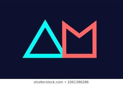Blue Orange Pastel Alphabet Letter Am A M Logo Combination Design