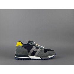Hogan Sneakers H383 Uomo Camoscio Tela Grigio Blu Giallo
