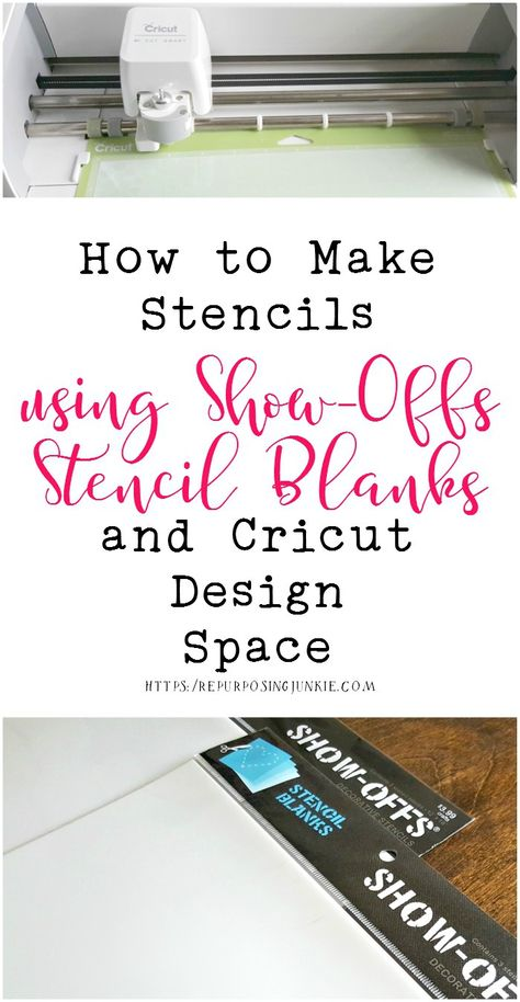 How to Make Stencils Using SHOW-OFFS Stencil Blanks and Cricut Design Space - Repurposing Junkie In this tutorial, I'll walk you through the process of How to Make Stencils Using SHOW-OFFS Stencil Blanks and Cricut Design Space Arts And Crafts Storage, Arts And Crafts For Teens, Art And Craft Videos, Easy Arts And Crafts, Cricut Stencils, Stencil Templates, Stencil Diy, Stenciling, Cricut Vinyl