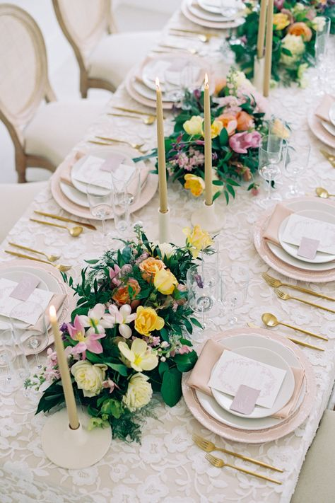 """From the editorial, This Indoor Ceremony Looks Like It Was Held In An Outdoor Garden. LBB photographer @nicolecolwellphotography says, """"Early spring in Virginia can be still dreary so we wanted to show that even though the trees may still be bare you can bring your early spring wedding to life with the right colors and florals."""" We're in awe of how perfectly this all white space was transformed. 💕 #stylemepretty #gardenwedding #yellowwedding #weddingflowers"""