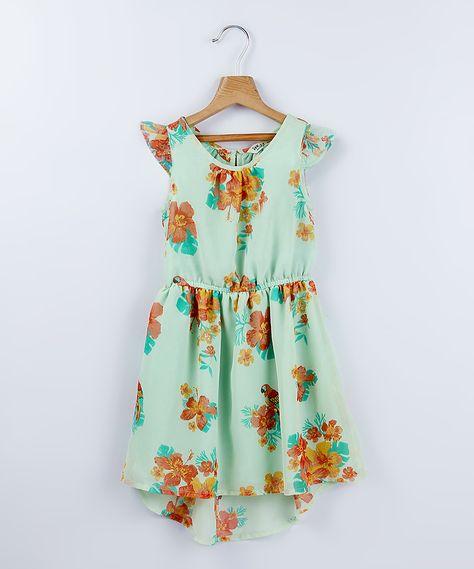 Beebay Light Green Floral Hi-Low Dress - Girls   zulily