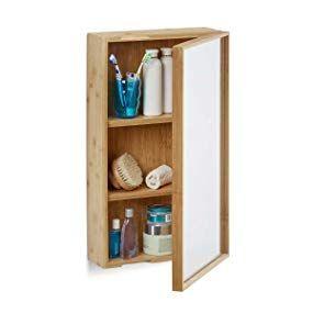 Relaxdays Bad Spiegelschrank Aus Bambus Einturiger