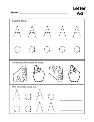 Letter Aa Tracing Practice And Patterns Worksheet Preschool Kindergarten Worksheets Pattern Worksheet Preschool Worksheets