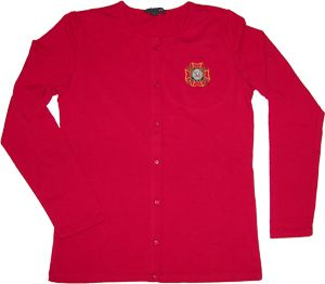 NEW red knit cotton cardigan with full-color Ladies Auxiliary logo embroidery. $29.95, sizes S - 4x.