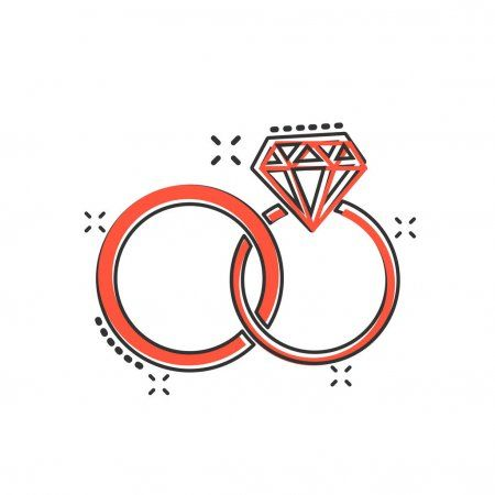 Anillo De Compromiso De Dibujos Animados Vector Con Icono De Diamante En Estilo Comic Pictograma De Ilustracion D Anillos De Boda Anillos De Compromiso Anillo
