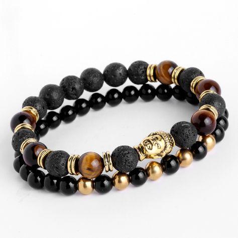 Fashion Hommes Femmes Lava Stone Trendy Mirco CZ couronne impériale Ball Beads Bracelets