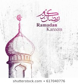 Detailed Sketch Illustration Of Mosque Tower In Purple Color For Ramadan Kareem With Grunge Background And Arabic Tex Instagram Template Design Mosque Ramadan