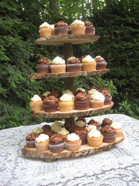 Cupcake Stand Rustic Wedding Log Slices 4 Tier By Yourdivineaffair