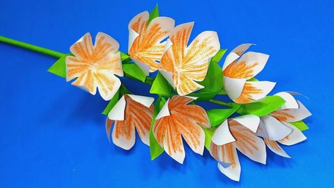 Paper Craft Paper Flower Ideas Handcraft Stick Flower Making
