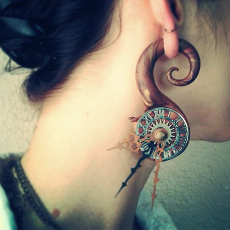 Price Per 1 Elementals Organics Horn Spiral with Tribal SILVER INLAY Organic Body Jewelry 6mm 10mm