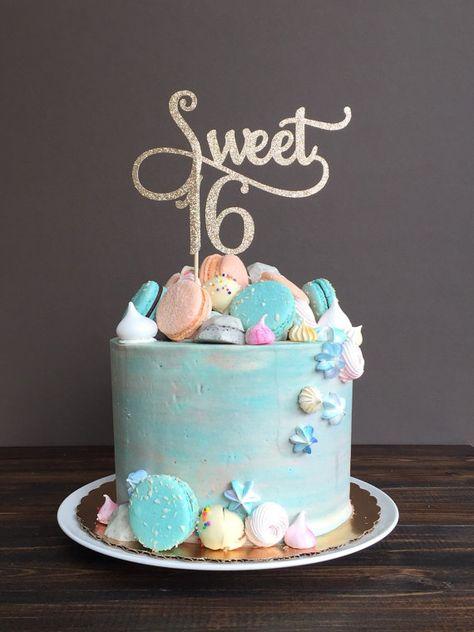Sweet 16 cake topper, sweet 16 birthday decorations, birthday cake topper, girl birthday party, sweet 16 party decorations Sweet 16 cake topper sweet 16 birthday by CelebratedMoment on Etsy