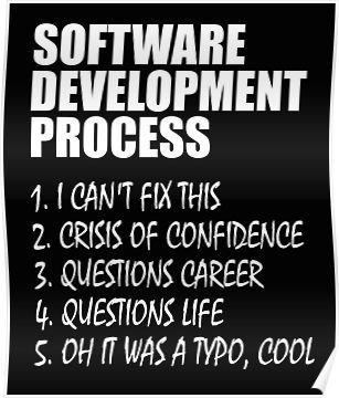 Software Development Process Programmer Joke Poster By Vaskoy In 2020 Programmer Jokes Funny Faces Quotes Funny Quotes