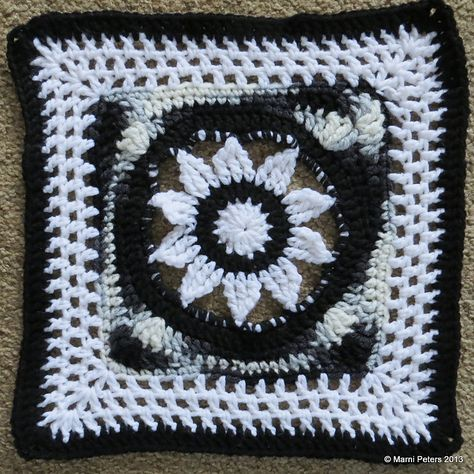 """Day 8:  12"""" Block of the Day - Blooming Lace - 12"""" Square by Melinda Miller    Free Pattern: http://www.ravelry.com/patterns/library/blooming-lace---12-square/    July 2013 #TheCrochetLounge #12inch #grannysquare Pick #crochet"""