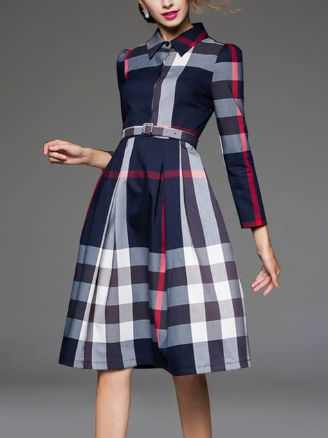 c84548f470a8 Shop - Navy Blue Check Pattern Belted Waist Midi Dress on Metisu.com.  Discover stylish and vogue women's dresses for the season. Regular  discounts up to 60% ...