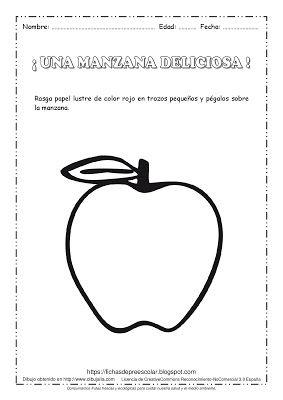 Fichas De Educacion Preescolar Una Manzana Deliciosa Actividad De Expresi Actividades De Arte Para Preescolares Actividades Para Motricidad Fina Actividades