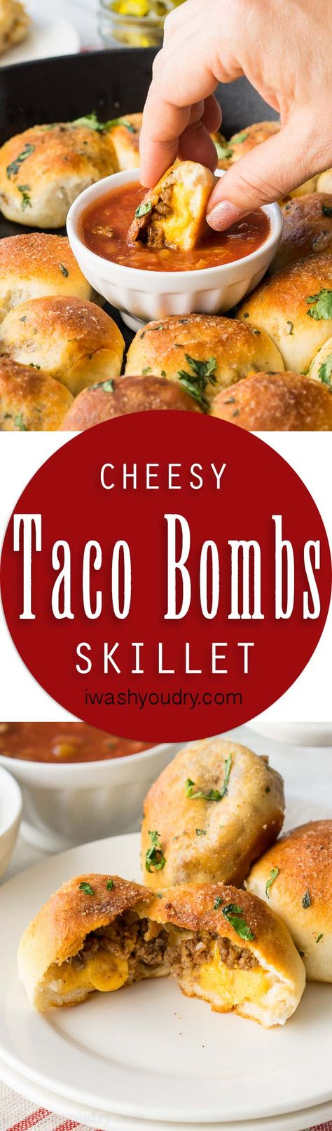 This Cheesy Taco Bombs Skillet is a quick and easy appetizer recipe that's filled with tender taco meat and gooey cheese!