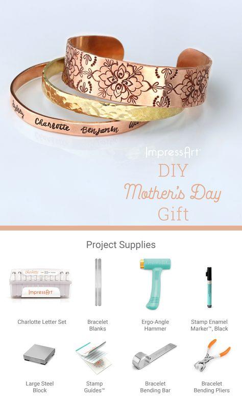 #MothersDay DIY metal stamp a Mother's Day gift this year for your mom. She will love a personalized piece of jewelry, or keepsake, that is full of love and thought. Jewelry stamping with ImpressArt is fun and easy, we have all the metal stamping tools and supplies needed to create elevated, hand stamped jewelry and more! #mothersdayideas #mothersdaygiftideas