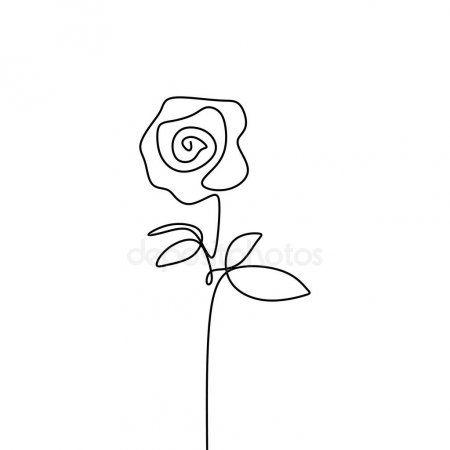 One Line Rose Flower Minimalism Drawing Vector Illustration Floral Art Design Floral Art Design Rose Line Art Line Art Flowers