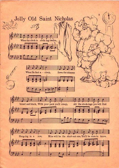 Free Printable~Jolly Old Saint Nicholas Sheet music Charlie Brown Christmas, Christmas Carol, Vintage Christmas, Christmas Holidays, Christmas Crafts, Christmas Ideas, Frugal Christmas, Victorian Christmas, Christmas Paper