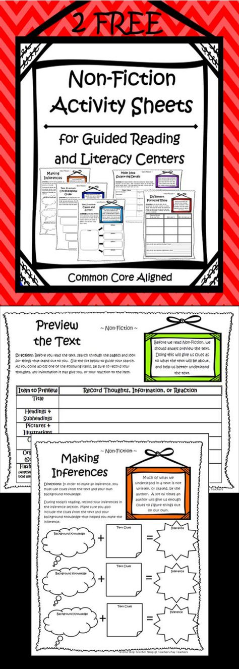 """FREEBIE!!! Common Core Non-Fiction Activity Sheets.  Perfect for Literacy Centers or Guided Reading Groups.  Covers """"Previewing a Text"""" and """"Making Inferences"""".  All you have to do is pair it with your favorite Non-fiction Text, and you are DONE!"""