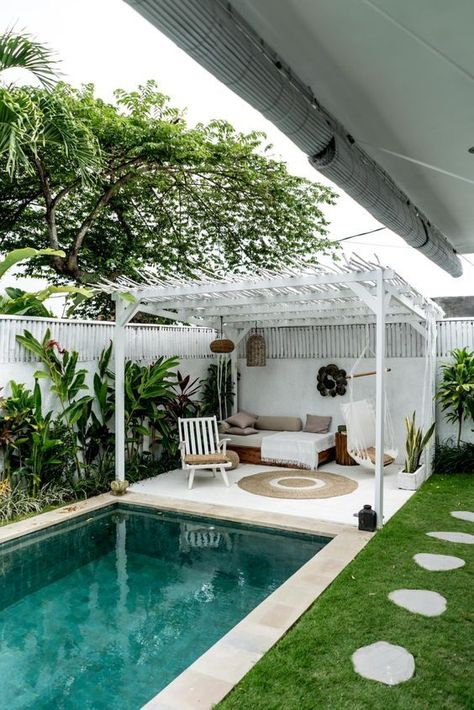 Indeed, people build pool house add beauty value to the owner's property. Find out most popular Pool House Ideas around the net here! Small Backyard Design, Small Backyard Pools, Backyard Pool Landscaping, Backyard Patio Designs, Outdoor Pool, Landscaping Ideas, Backyard Ideas Pool, Pergola Ideas, Small Backyards