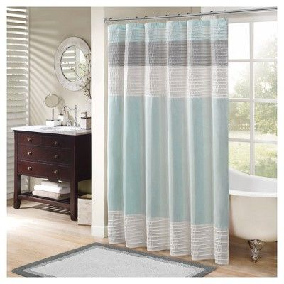 Polyester Faux Silk Shower Curtain Aqua With Images Striped