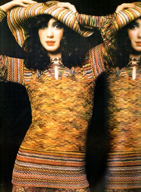 Photo by Barry Lategan, 1971 vintage fashion photo print ad model magazine designer sweater knits hat colorful stripes red yellow green purple