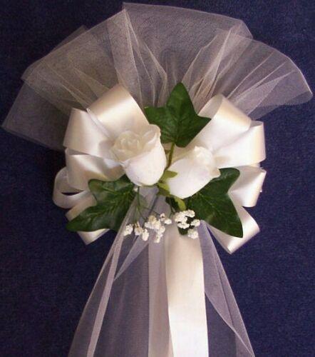 6 Church Chair Wedding Flower Pew Bows Decoration White Or Ivory Florist Ready Ebay Wedding Car Decorations Pew Bows Wedding Church Pew Wedding Decorations