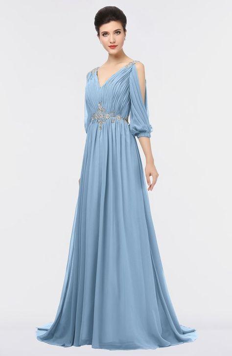 246a58a875843 ColsBM Joyce Royal Purple Mature A-line V-neck Zip up Sweep Train Beaded Bridesmaid  Dresses | Dresses | Vestidos elegantes, Vestidos largos, Vestidos