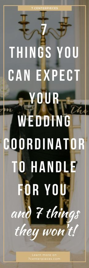 Wedding coordinator duties got you stumped? Not sure if you should hire a wedding planner? I was totally confused until I read this article which lays out everything a wedding planner does and why you should hire one! PIN IT NOW and read it--you won't regret it! #weddingcoordinator #weddingplanner #7centerpieces
