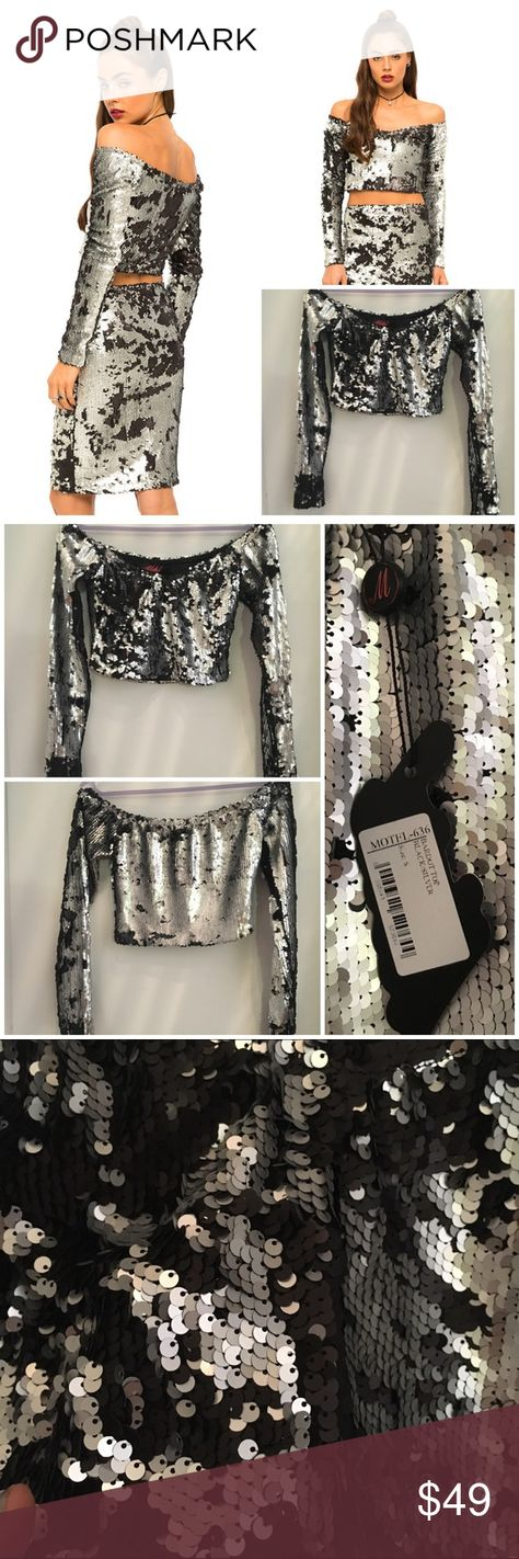 """Motel rocks sequin long sleeve Bardot top NWT sml Motel rocks sequin long sleeve Bardot top NWT SML. Hem 13.5"""". U/a 15.5"""". Sleeve 22"""". Silver sequin on top black sequin on other side. Amazing top. ❌🅿🅿❌trades❌holds pls use offer button for price negotiations ASOS Tops"""