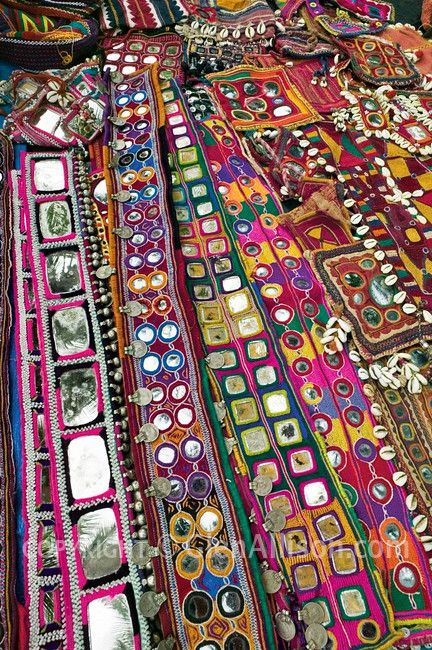 India, mirror work hand embroidered textiles.
