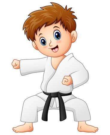 Ilustracion Vectorial De Lindo Nino Haciendo Karate Karate Para Ninos Karate Dibujo Karate