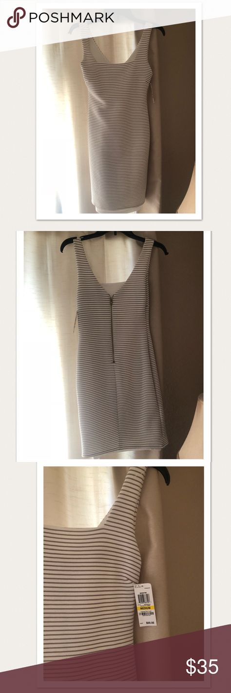 New Bar III Antique White Stripe Dress Med Bar III antique white body-con dress. Perfect for going out!!! The dress has an amazing fit around the body. Brand new w/ tags size medium.  97% polyester  3% spandex Lining 100% polyester  Machine Wash Cold  #dress #springdress #summerdress Bar III Dresses Midi