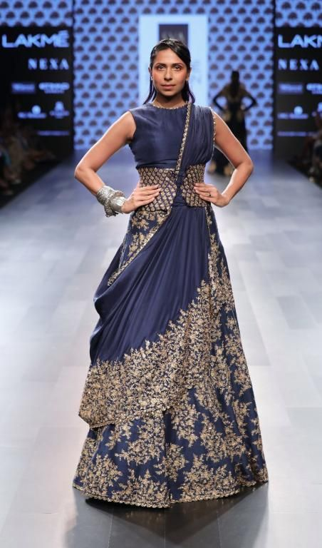 Love this waist band embroidered blue lehenga by SVA Couture #Frugal2Fab